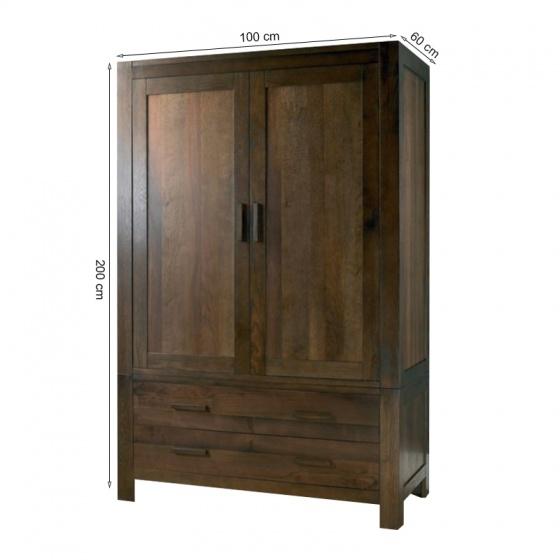 Tủ quần áo 2 cánh 2 ngăn kéo Lyon gỗ óc chó 1m2