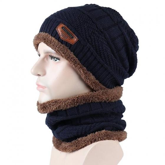 Mũ và khăn len có lớp lót bông giữ nhiệt unisex màu xanh xám