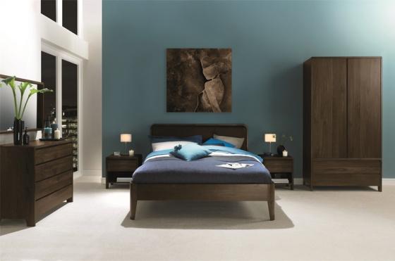 Giường đôi Capri mặt nệm gỗ óc chó 1m6