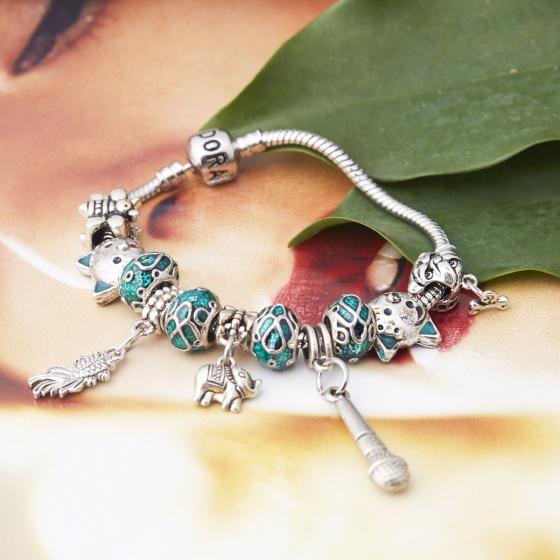 Opal - Vòng tay charm tặng kèm một dây chuyền bạc mặt charm cao cấp 250.000đ _T12