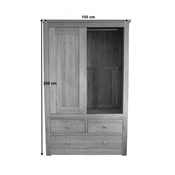 Tủ quần áo cửa lùa Gents gỗ sồi 1m2