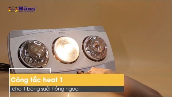 Đèn sưởi nhà tắm 3 bóng Hans H3B hãng phân phối