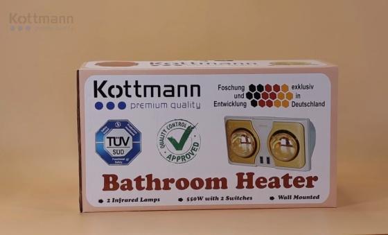 Đèn sưởi nhà tắm 2 bóng treo tường Kottmann K2B-H hãng phân phối