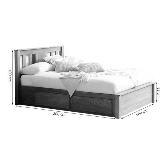 Giường đôi Wimbledon gỗ sồi 1m6