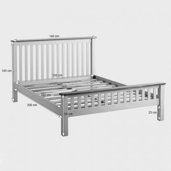 Giường đôi Kemble gỗ sồi 1m4