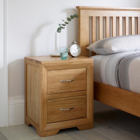 Tủ đầu giường 2 tầng Bevel gỗ sồi