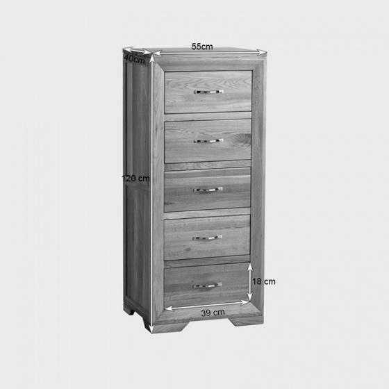 Tủ 5 ngăn kéo đứng Bevel gỗ sồi - IBIE