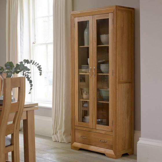 Tủ trưng bày 2 cánh kính Bevel gỗ sồi - IBIE