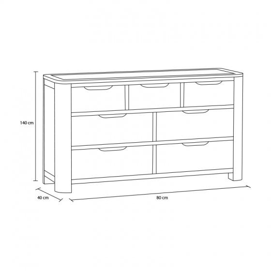 Tủ ngăn kéo Romsey 3+4 gỗ sồi - IBIE
