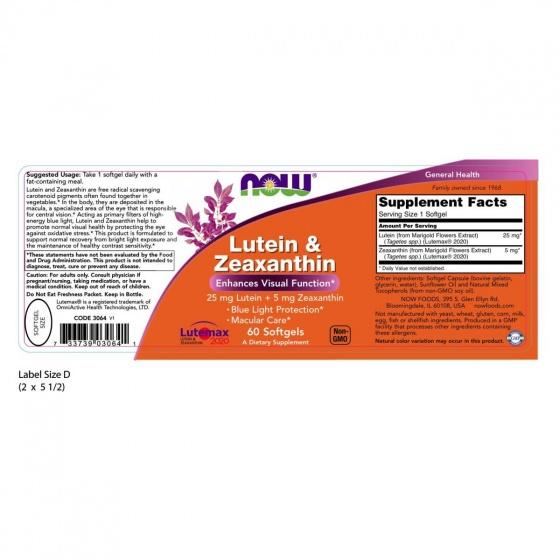 Thực phẩm chức năng Lutein & Zeaxanthin hãng NOW Foods USA - Viên uống bổ mắt, phòng ngừa các bệnh về mắt