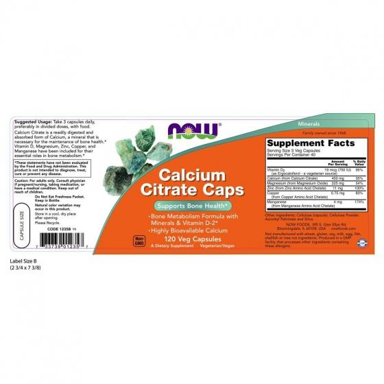 Thực phẩm chức năng Calcium Citrate Caps hãng NOW Foods USA - Giúp xương chắc khỏe, bổ sung canxi, chất khoáng cho cơ thể