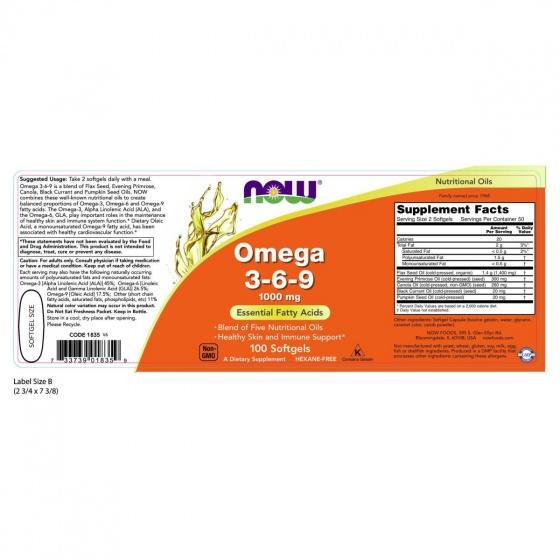 Thực phẩm chức năng Omega 3-6-9 hãng NOW Foods USA - Giảm nguy cơ các bệnh tim mạch, huyết áp, mắt, tăng cường hệ miễn dịch