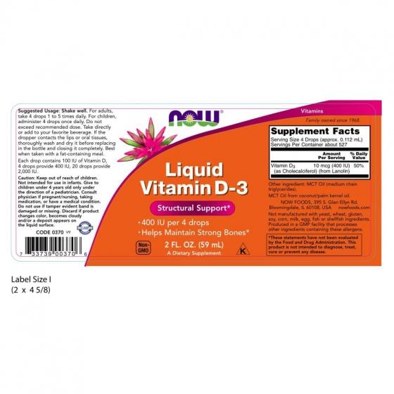 Thực phẩm chức năng Vitamin D3 Liquid hãng NOW Foods USA - Chống còi xương, tăng hấp thu calci và duy trì xương chắc khỏe