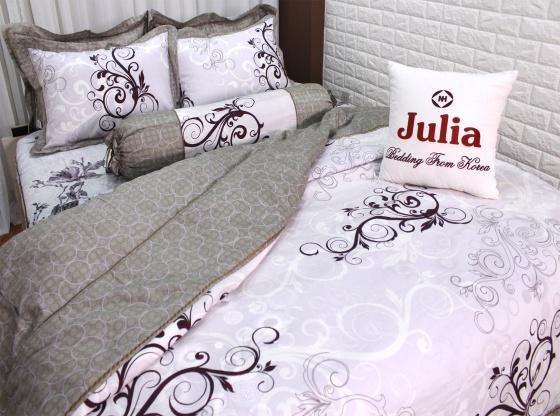 Bộ chăn ga gối chần thêu satin gấm tơ tằm Hàn Quốc Julia (bộ 5 món chần gòn nguyên bộ)160x200x25-707BC16