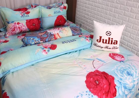 Bộ chăn ga gối cotton satin nhập Hàn cao cấp dày mịn Julia (bộ 5 món chần gòn)-495RT18