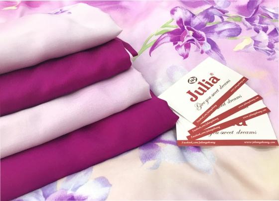 Bộ ga gối lụa tencel siêu mát mịn nhập khẩu Hàn Quốc Julia (bộ 4 món không chăn) -849BK16