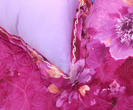 Bộ chăn ga gối lụa tencel tơ tằm Hàn Quốc Julia siêu mát mịn (bộ 5 món chần gòn)-820BC16