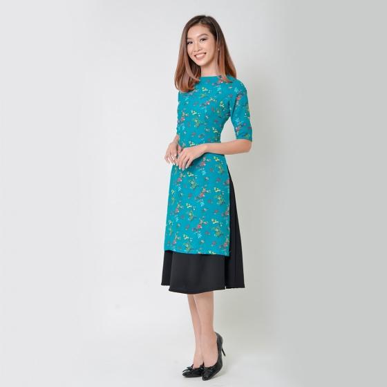 Set áo dài cách tân thời trang Eden họa tiết hoa màu xanh - SAD008