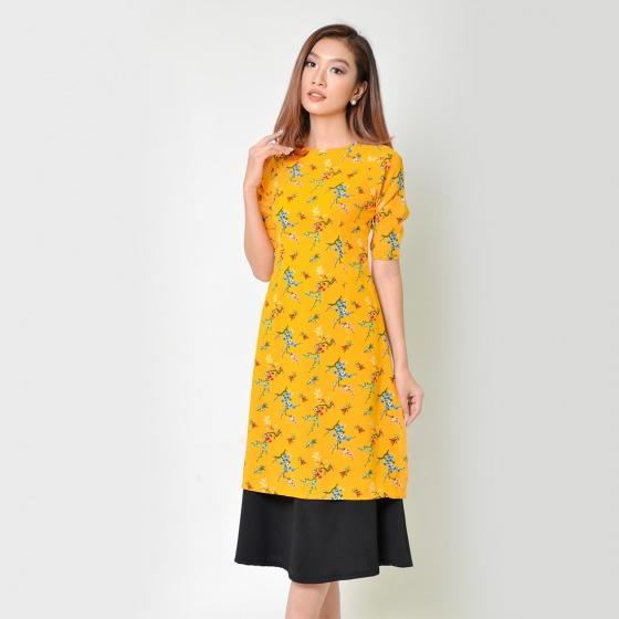 Set áo dài cách tân thời trang Eden họa tiết hoa màu vàng - SAD008