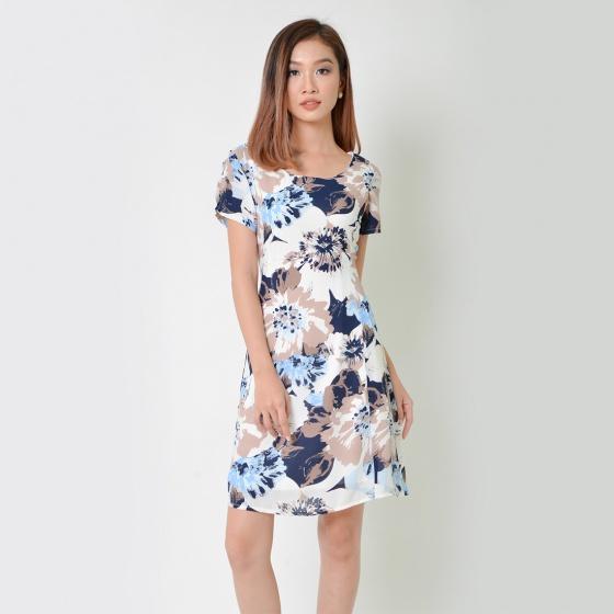Đầm suông thời trang Eden in hoa tay ngắn (trắng - D336