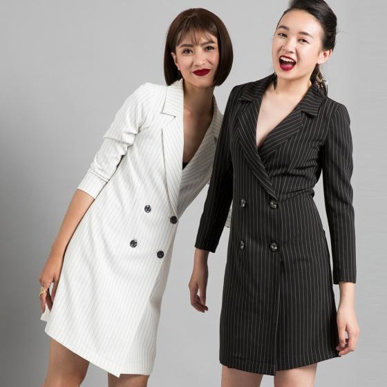 Đầm blazer Hity DRE080 (sọc trắng kim cương)