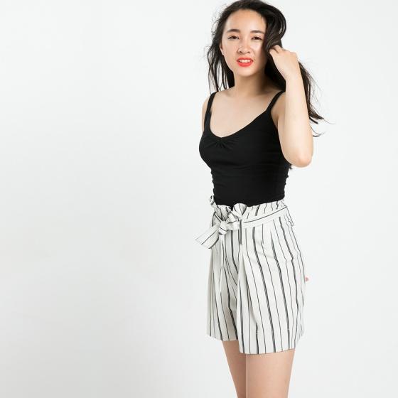 Quần shorts lưng xếp ly Hity PAN033 (sọc trắng kim cương)