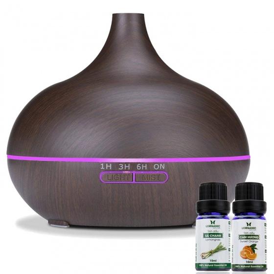 Máy khuếch tán tinh dầu giọt nước lớn gỗ nâu Lorganic FX2023 + tinh dầu sả chanh + tinh dầu cam Lorganic (10ml x2)