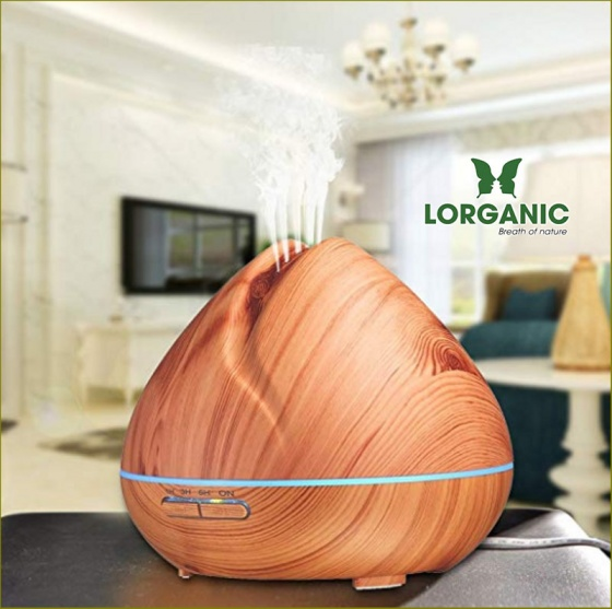 Máy khuếch tán tinh dầu quả đào gỗ vàng Lorganic FX2024 + tinh dầu sả chanh + tinh dầu cam Lorganic (10ml x2)