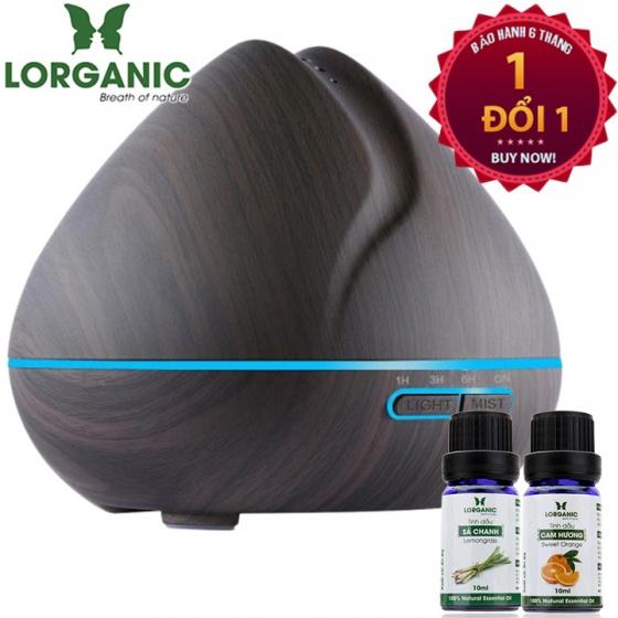 Máy khuếch tán tinh dầu quả đào gỗ nâu Lorganic FX2025 + tinh dầu sả chanh + tinh dầu cam Lorganic (10ml x2)
