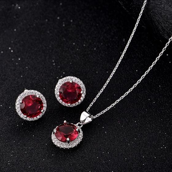 Opal - Bộ sản phẩm bạc và đá ross đỏ cá tính_ T01