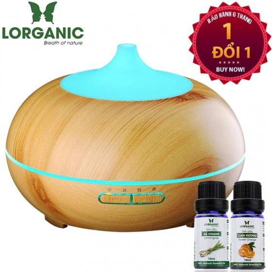 Máy khuếch tán tinh dầu bí ngô gỗ vàng Lorganic FX2026 + tinh dầu sả chanh + tinh dầu cam Lorganic (10ml x2)
