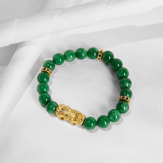 Vòng tay đá cẩm thạch sơn thủy charm tỳ hưu bọc vàng 24k Ngọc Quý Gemstones