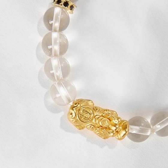 Vòng tay đá mã não trắng trắng mix tỳ hưu mạ vàng 24k Ngọc Quý Gemstones