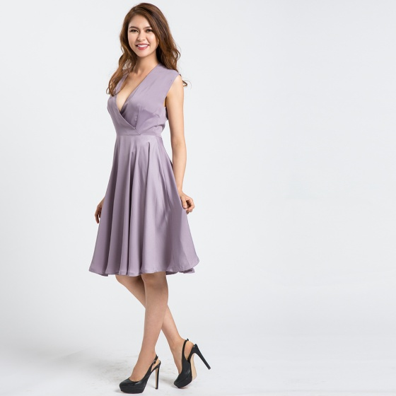 Đầm xòe fit'nflare Hity DRE079 (tím violet)