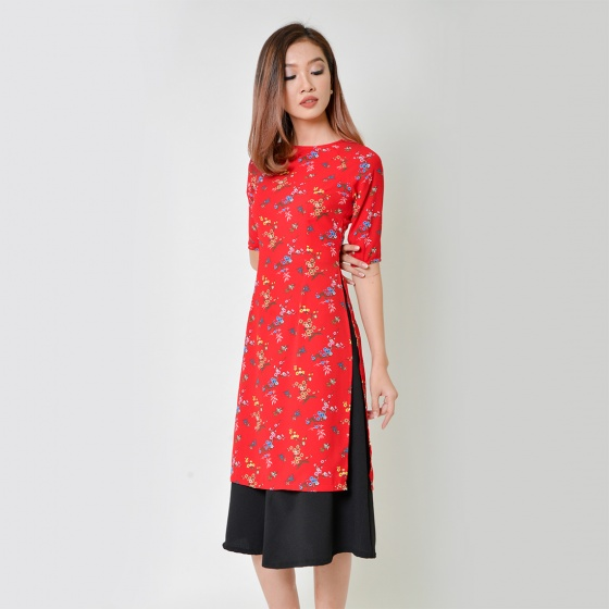 Set áo dài cách tân thời trang Eden họa tiết hoa màu đỏ - SAD008