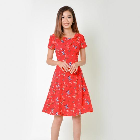 Đầm xòe thời trang Eden phối nơ màu đỏ - D338