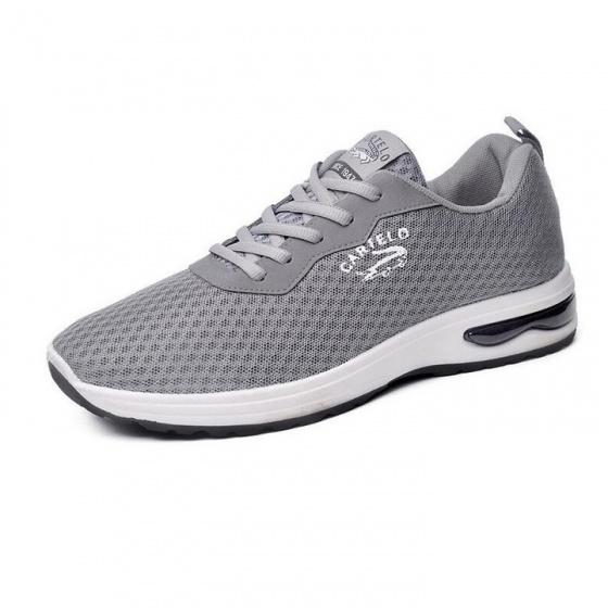 Giày nam thể thao vải lưới sneaker màu ghi bạc
