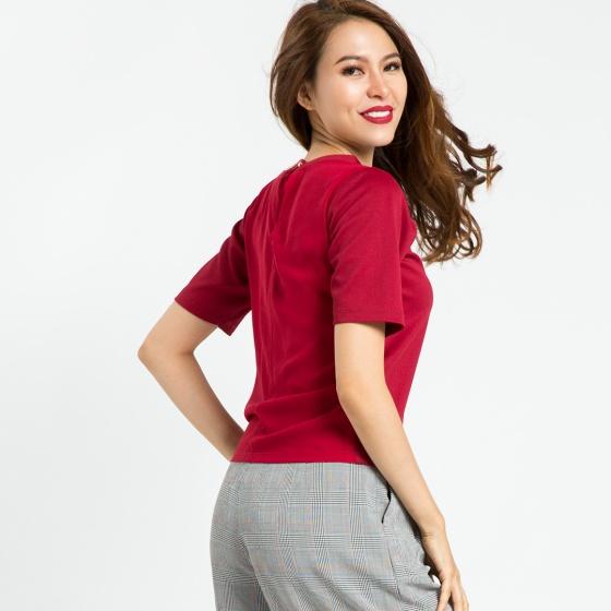 Áo tshirt phối voan Hity TOP071 (đỏ Auburn)