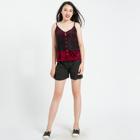 Áo hai dây nhung Hity TOP080 (đỏ auburn)