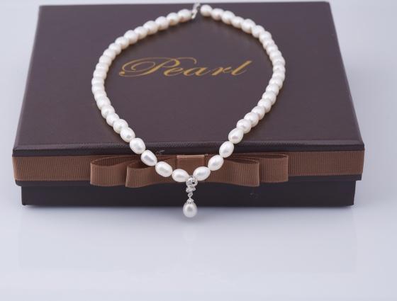 Opal- Vòng cổ ngọc trai oval kèm mặt bạc đính ngọc trai trắng _ T01