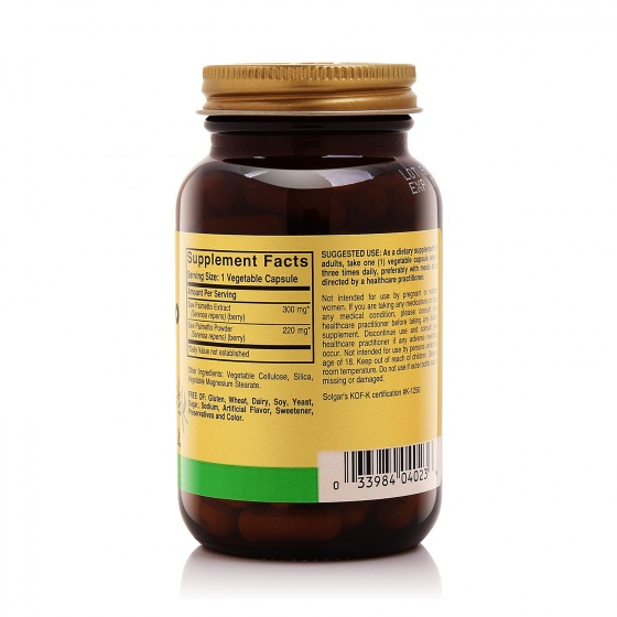 Hỗ trợ tăng cường sức khoẻ nam giới Solgar® cọ lùn FP Saw Palmetto Berries 100 viên - Nhập khẩu USA-tặng kèm áo thun