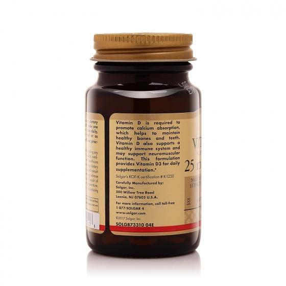 Nhập khẩu USA chính hãng - Solgar ® Vitamin D3 1000 IU 90 viên nén- tặng kèm áo thun