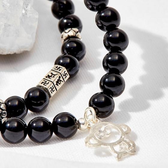 Vòng tay 2 line đá thiên thạch phối Mokey King Ngọc Quý Gemstones