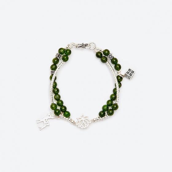 Vòng tay đôi đá Diopside phối hươu bạc Ngọc Quý Gemstones