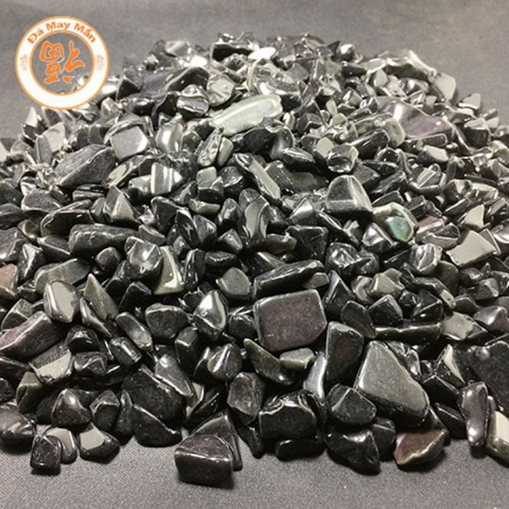 Túi đá vụn phong thủy vụn thiên thạch đen HT014 80g