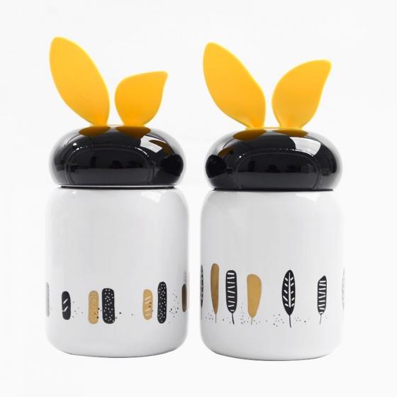 Bình giữ nhiệt mini cao cấp tai thỏ phong cách Hàn Quốc - EM026 - Trắng