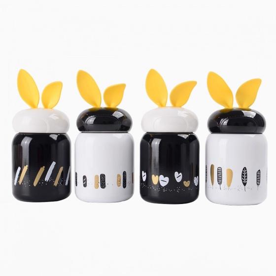 Bình giữ nhiệt mini cao cấp tai thỏ phong cách Hàn Quốc - EM026 - Đen