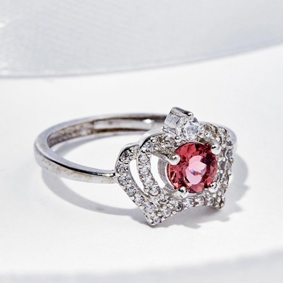 Nhẫn vương miện Tourmaline hồng