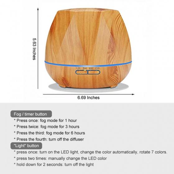 Máy khuếch tán tinh dầu hình kim cương gỗ vàng  FX2032 + tinh dầu sả chanh + tinh dầu cam Lorganic (10ml x2)