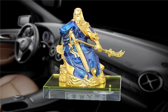 Tượng quan công quan vũ để bàn để ô tô màu xanh dương